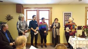 From left to right: Esther Saanum, Ryan Frizzell, Crystle Reid, Rev. Carole Martignacco and UUEstrie president Rachel Garber